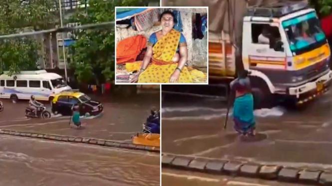 Wanita tua berdiri 8 jam di tengah jalan di India demi membantu warga