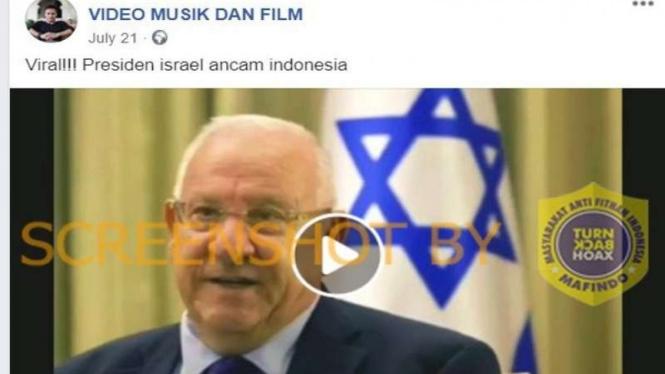 Hoax video Presiden Israel ancam akan buat Indonesia seperti Palestina