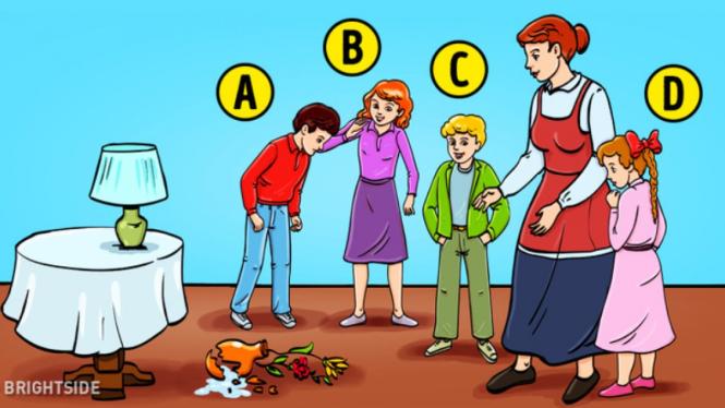 Di antara 4 anak siapa yang memecahkan vas?