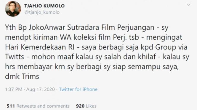 Tweet permohonan maaf Menpan RB, Tjahjo Kumolo soal posting link film di YouTube