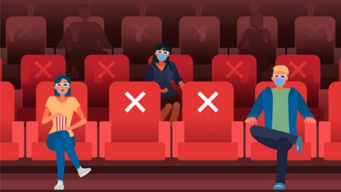 Ilustrasi social distancing di bioskop/menonton bioskop.