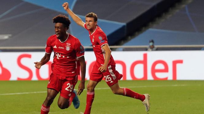 Winger Bayern Munich, Kingsley Coman, usai jebol gawang PSG