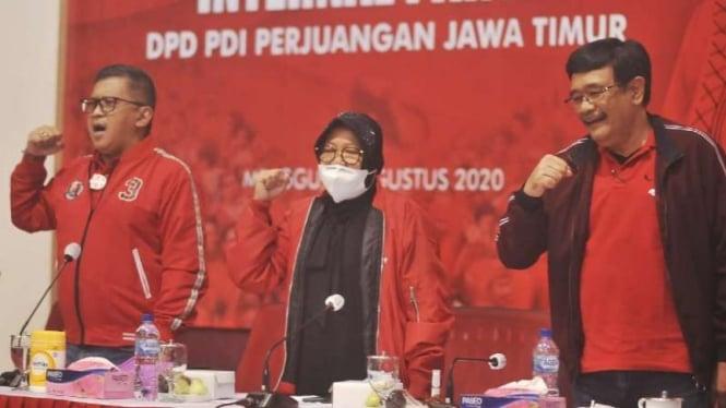Hasto Kristyanto, Djarot Saiful Hidayat, Arif Wibowo, dan Tri Rismaharini saat kHasto Kristyanto, Djarot Saiful Hidayat, Arif Wibowo, dan Tri Rismaharini saat konsolidasi di kantor PDIP Jatim di Surabaya, Minggu, 30 Agustus 2020.