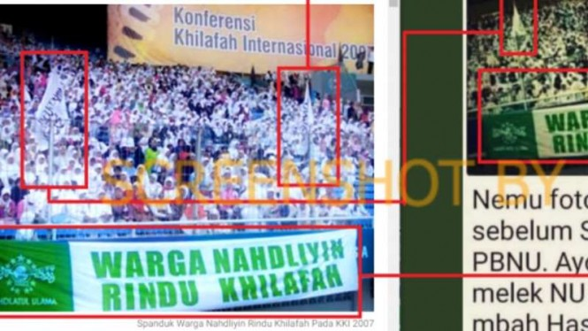 Tangkapan layar (screen shot) unggahan di Twitter yang memuat foto spanduk bertulisan 'Warga Nahdliyah Rindu Khilafah'.