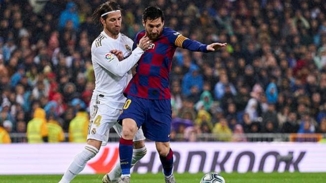 Duel Lionel Messi melawan Sergio Ramos di laga Barcelona versus Real Madrid