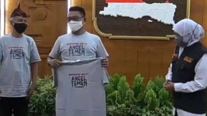 Moeldoko, Khofifah Indar Parawansa, dan Cak Kartolo di Gedung Negara Grahadi, Surabaya, pada Kamis, 3 Agustus 2020.