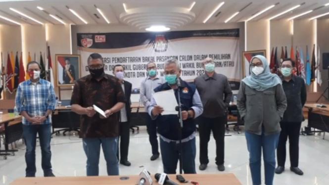 Ketua KPU Arief Budiman saat mengumumkan hasil pendaftaran paslon di Pilkada 2020