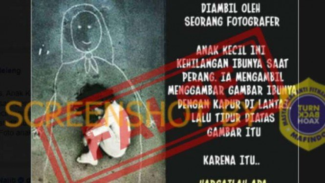 Tangkapan layar (screen shot) akun Facebook yang mengunggah sebuah foto anak kecil yang diklaim kehilangan ibunya akibat perang.