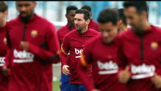 Lionel Messi kembali jalani latihan bersama Barcelona.