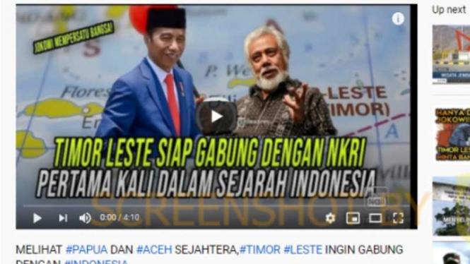 Tangkapan layar (screen shot) kanal Youtube yang mengunggah sebuah video dengan klaim bahwa Timor Leste ingin bergabung kembali dengan Indonesia.