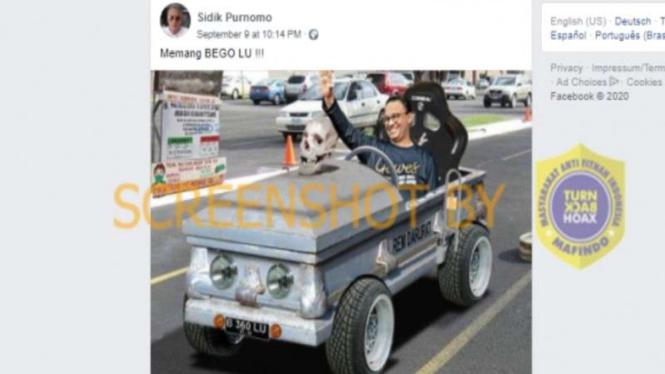 Hoax Gubernur Anies kendarai mobil peti mati