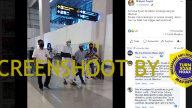 Tangkapan layar (screen shot) akun Facebook yang mengunggah foto Syekh Ali Jaber berjalan di lorong bandara yang diklaim akan terbang untuk pulang ke Arab Saudi setelah insiden penusukan di Lampung.