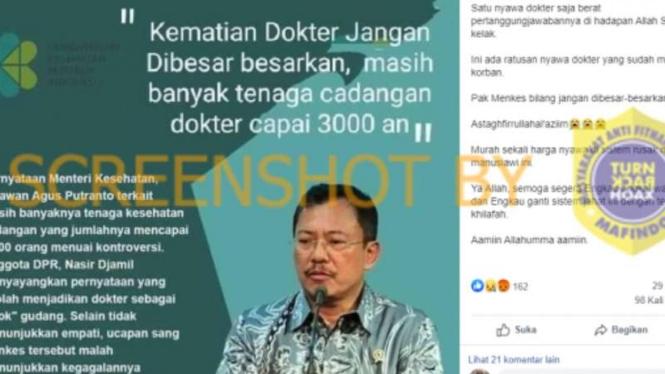 Tangkapan layar (screen shot) akun Facebook yang mengunggah foto Menteri Kesehatan Terawan Agus Putranto dengan narasi yang diklaim sebagai pernyataan sang menteri tentang kematian para dokter akibat COVID-19.