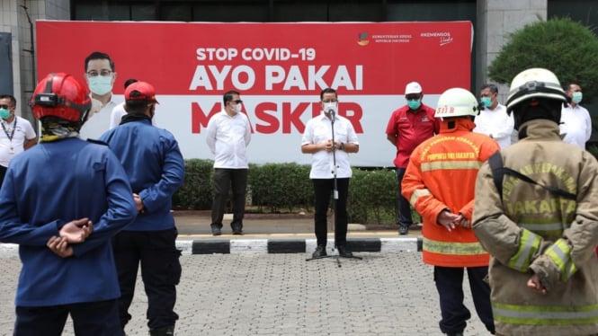 Mensos sampaikan apresiasi dan ucapan terima kasih kepada tim Security Kemensos dan Tim dari Dinas Pemadam Kebakaran DKI Jakarta.