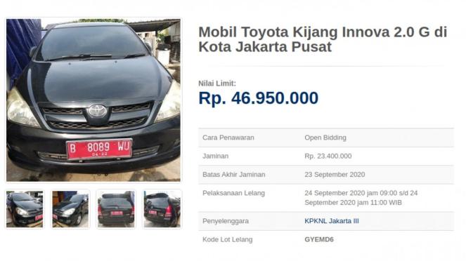 Lelang Toyota Kijang Innova