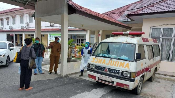 Jenazah pasien COVID-19 saat di RSUD Deli Serdang.