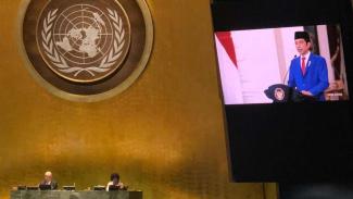 Presiden Jokowi saat menyampaikan pidato di Sidang PBB