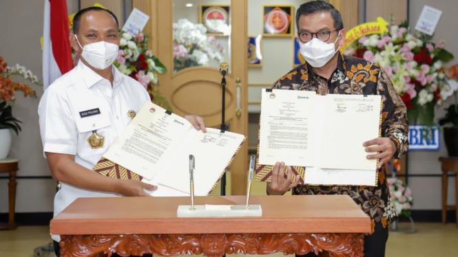 Penandatanganan perjanjian kerja sama BRI dan Kemhan RI.
