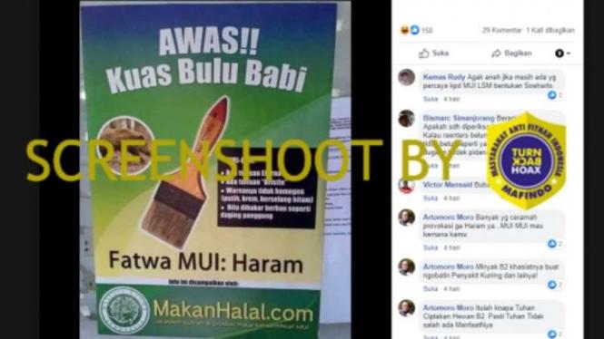 Tangkapan layar (screen shot) akun Facebook yang mengunggah gambar poster dengan klaim MUI menerbitkan fatwa haram untuk satu jenis kuas karena dibuat dari bulu babi.