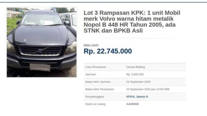 Lelang mobil mewah rampasan tindak pidan korupsi oleh KPK
