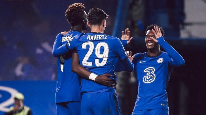 Pemain Chelsea merayakan gol Kai Havertz