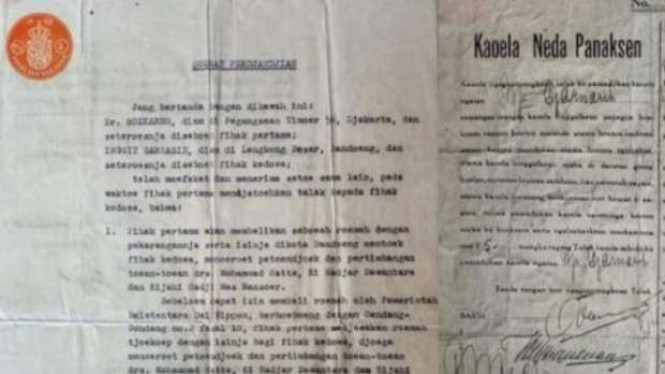 Surat cerai Soekarno dan Inggit Ganarsih.