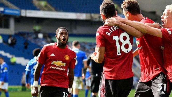 Selebrasi pemain MU usai menang lawan Brighton