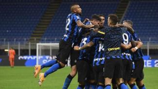 Selebrasi pemain Inter Milan usai cetak gol ke gawang Fiorentina