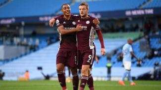 Bomber Leicester City, Jamie Vardy rayakan gol ke gawang ManCity