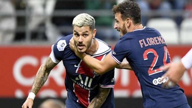 Bomber PSG, Mauro Icardi selebrasi setelah mencetak gol ke gawang Reims