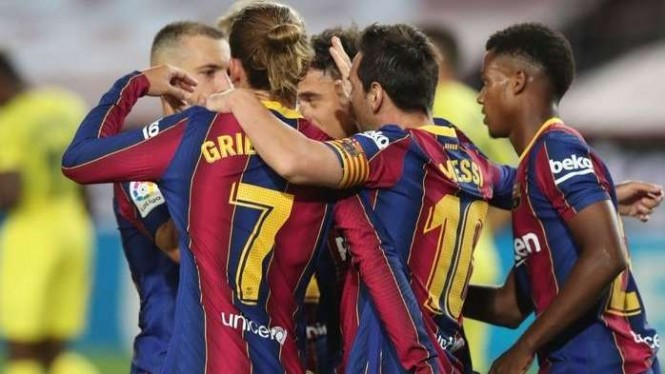 Selebrasi pemain Barcelona