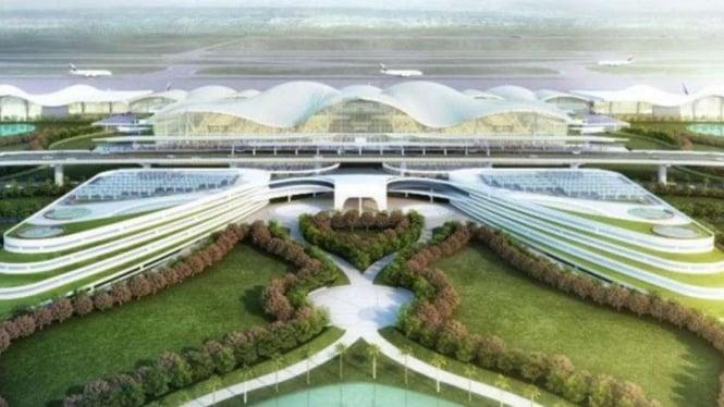 ilustrasi desain proyek pengembangan Bandara Internasional Sultan Hasanuddin.