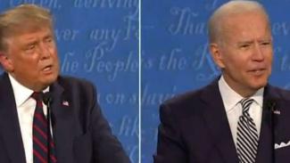 Debat Capres AS Donald Trump (kiri) dan Joe Biden (kanan).