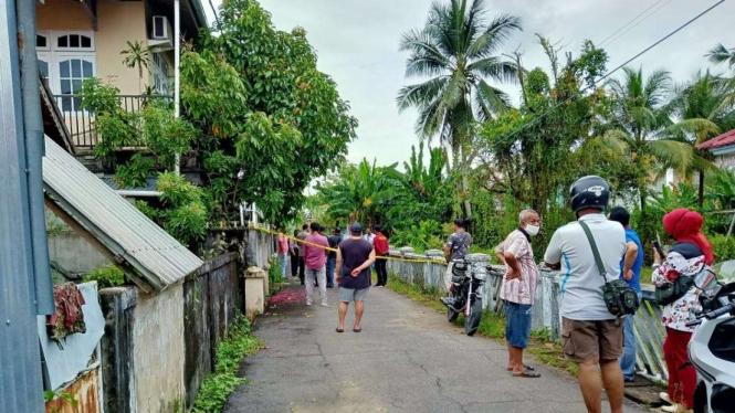 Lokasi penemuan mayat korban penusukan di Pontianak, Kalimantan Barat.