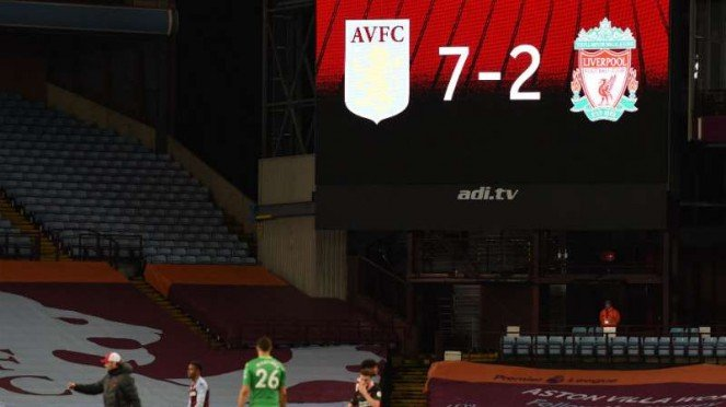 Liverpool dibantai Aston Villa 2-7.