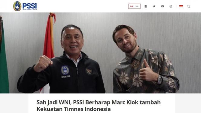 Pssi Marc Klok Sudah Sah Jadi Wni