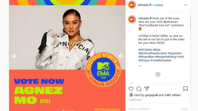 Agnez Mo masuk nominator MTV Europe Music Awards 2020