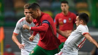 Aksi Cristiano Ronaldo di laga Portugal versus Spanyol