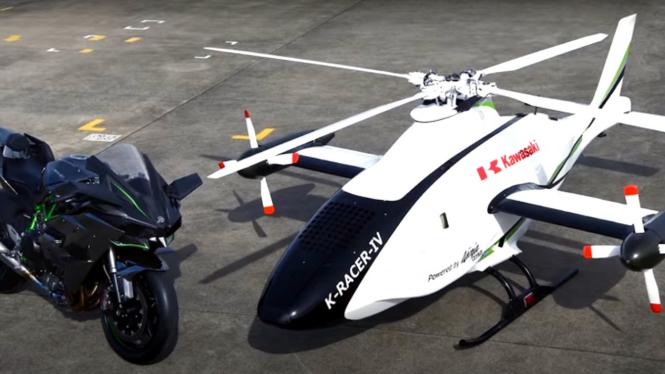 Drone pakai mesin motor Kawasaki Ninja H2R