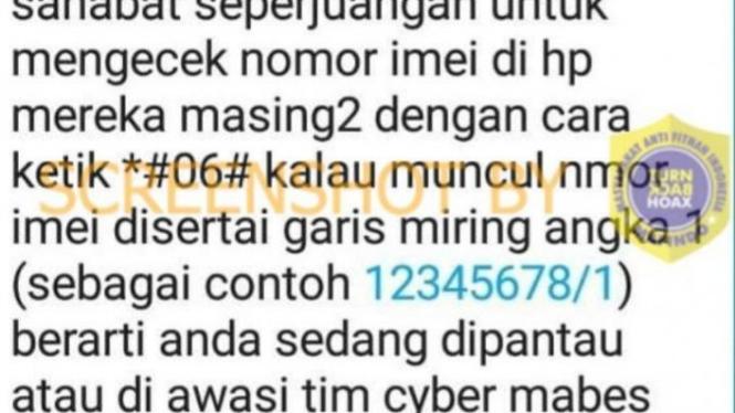 Tangkapan layar (screen shot) informasi bohong tentang cara untuk mengetahui ponsel sedang disadap oleh polisi.