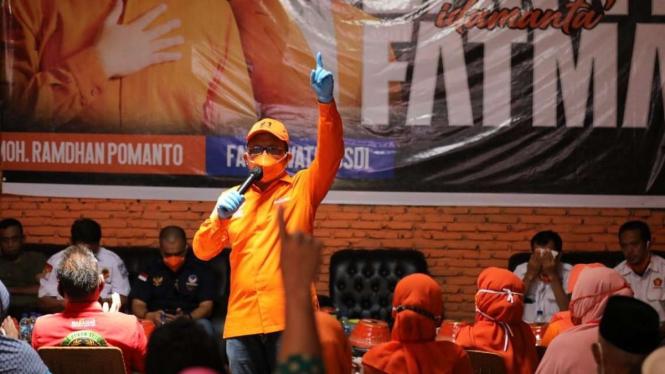 Calon wali kota Makassar Mohammad Ramdhan Pomanto sebagai pihak terlapor dalam kasus dugaan politik uang di Pilkada Makassar.