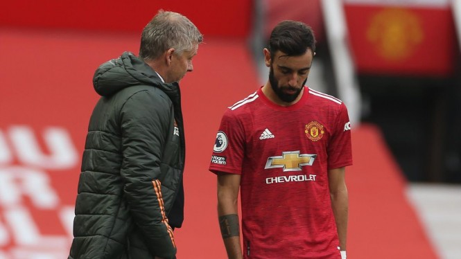Manajer Manchester United, Ole Gunnar Solskjaer dan Bruno Fernandes