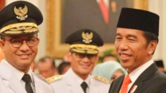 Anies, Sandi, Jokowi (foto Antara/Nur Terbit)