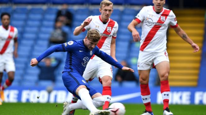 Striker Chelsea, Timo Werner cetak gol ke gawang Southamton