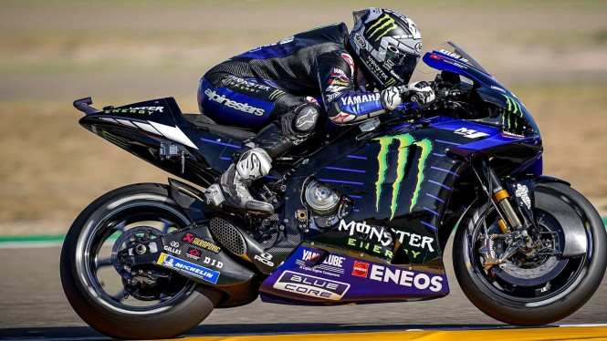 Pembalap Monster Energy Maverick Vinales di MotoGP Aragon 2020