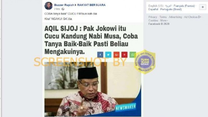 Hoax Said Aqil sebut Jokowi cucu kandung Nabi Musa