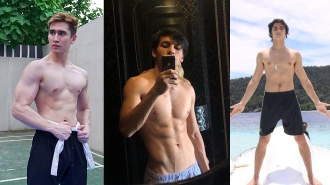 Deretan artis pria foto telanjang dada.