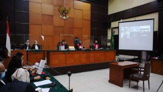 Suasana sidang pembacaan dakwaan secara virtual kasus dugaan Djoko Tjandra