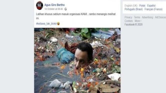 Hoax Anies Baswedan berendam di sungai penuh sampah