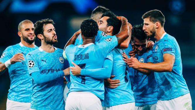 Selebrasi pemain Manchester City usai bobol gawang Porto